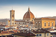 Early morning view of the Duomo in Florence, Tuscany, Italy.<br /> Picture date: Sunday February 24, 2019.<br /> Photograph by Christopher Ison ©<br /> 07544044177<br /> chris@christopherison.com<br /> www.christopherison.com