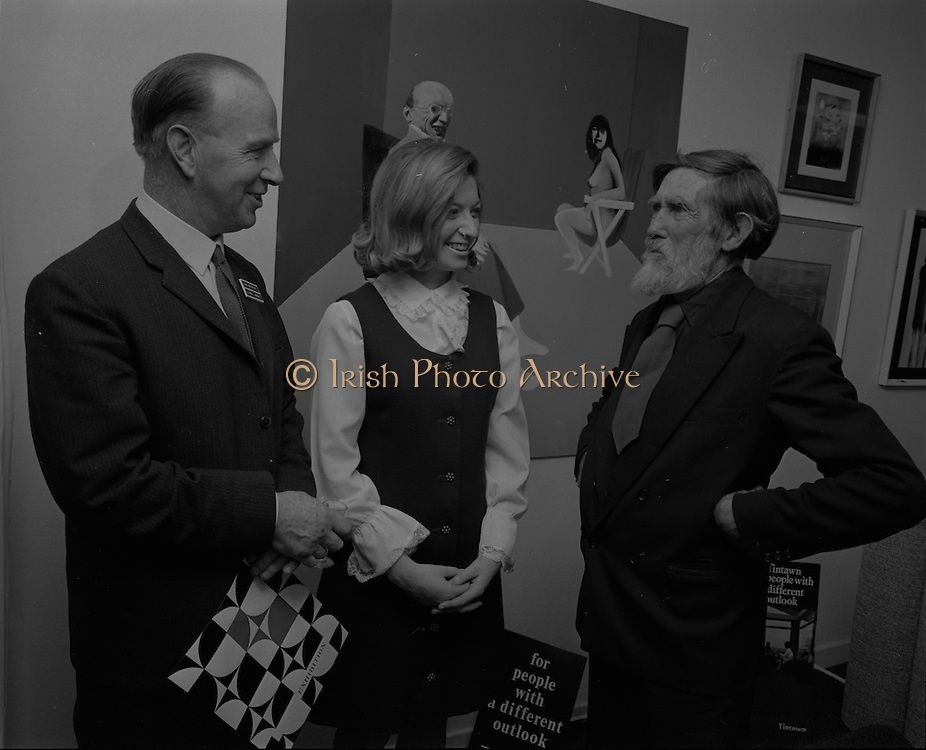 """04/07/1969.07/04/1969.4th July 1969.Sean Keating at an exhibit of a representative selection of the exhibits in the RTE Regional Arts awards from Limerick  shown in the Tintawn showroom in South KIng Street, Dublin..Sean Keating.Sean Keating (1889-1977).Portrait and figure painter, John Keating was born in Limerick on 28th September 1889...Examples: Armagh: County Museum. Ballinasloe, Co. Galway: St Joseph's College. Beijing: Irish Embassy. Belfast: Dublin Institute for Advanced Studies; Passionist Retreat, The Graan. Galway: National University of Ireland. Glasgow: Art Gallery and Museum. Kilkenny: Art Gallery Society. Clongowes Wood College. Oldham, Lancs: Art Gallery and Museum. Rome: Irish College. Sligo: Model and Niland Centre. Tralee, Co. Kerry: St John's Church. Waterford: City Hall, Municipal Art Collection. Electricity Supply Board; Federated Workers' Union of Ireland; Hugh Lane Municipal Gallery of Modern Art; Institution of Engineers of Ireland; McKeeBarracks; Mansion House; National Gallery of Ireland; National Museum of Ireland; Office of Public Works; Pharmaceutical Society of Ireland; University College (Newman House; Earlsfort Terrace). Dundrum, Co. Dublin: Carmelite Fathers, Gort Muire. Public Library. Brussels: Mused Modeme. Cork: Collins Barracks; Crawford Municipal Art Gallery. Dublin: Aras an Uachtar~in; Church of Ireland See House, Temple Road, Milltown; Church of St Therese, Mount Merrrion; Church of the Holy Spirit, Ballyroan; Co. Dublin Vocational Education Committee;.Literature: Royal Dublin Society Report of Council, 1""""4; The Studio, May 1915, July 1917, September 1923 (also illustration), July 1914, October 1924, November 1951; Seumas O'Brien, The Whale and the Grasshopper, Dublin 1920 (illustration); Dublin Magazine, December 1923 (illustration), October 1924 (illustration), July- September 1943, October-December 1946; John M. Synge, The Playboy of the Western World, London 1927 (illustrations); J. Crampton Walker, Irish Life and Landsc"""