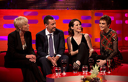 (left to right) Emma Thompson, Adam Sandler, Claire Foy and Cara Delevingne during filming of the Graham Norton Show at the London Studios, to be aired on BBC One on Friday.