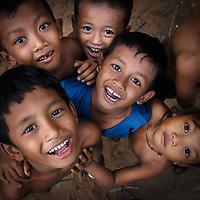 Happy children in the streets of Cambodia
