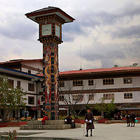 Asia, Bhutan, Thimpu. The clock tower and central square of Thimpu, Bhutan.