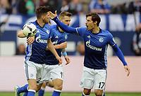 1:1 Jubel v.l. Torschuetze Klaas-Jan Huntelaar, Benjamin Stambouli (Schalke)<br /> Gelsenkirchen, 23.04.2017, Fussball, Bundesliga, FC Schalke 04 - RB Leipzig<br /> <br /> Norway only