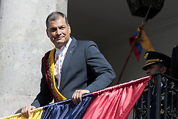 May 24, 2017 - Quito, Pichincha, Ecuador - President Rafael Correa says goodbye from the balcony of the Carondelet Palace in Quito, Wednesday, May 24, 2017. After 10 years of rule Rafael Correa ends his term, Lenin Moreno is the new president of Ecuador. (Credit Image: © Franklin JáCome/NurPhoto via ZUMA Press)