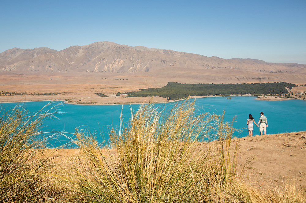 Couple holding hands looking out over blue Lake Tekapo, New Zealand