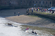 """Chiswick, London, Great Britain.<br /> Spectators watch the racing from outside """"the Ship Inn"""", Mortlake.<br /> 2016 Schools Head of the River Race, Reverse Championship Course Mortlake to Putney. River Thames.<br /> <br /> Thursday  17/03/2016<br /> <br /> [Mandatory Credit: Peter SPURRIER;Intersport images]"""