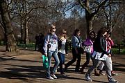 Teenage girls walking in St James Park, London