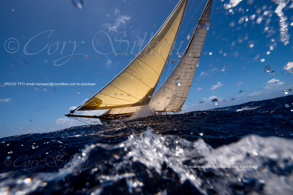 Mary Rose sailing in the Butterfly Race at the Antigua Classic Yacht Regatta.