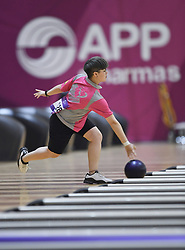 PALEMBANG, Aug. 24, 2018  Veronica Dias de Souza of China's Macao competes during Bowling Women's team of six event at the 18th Asian Games in Palembang, Indonesia, Aug. 24, 2018. (Credit Image: © Liu Ailun/Xinhua via ZUMA Wire)