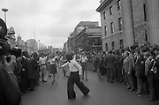 Sinn Fein (Provo) Dublin Parade.   K22..1976..25.04.1976..04.25.1976..25th April 1976..Sinn Fein held an Easter Rising Commemorative  parade..The parade started at St Stephens Green, Dublin and proceeded through the streets to the G.P.O.in O'Connell Street, the scene of the centre of the 1916 uprising..Pictured is one of the bands taking part in the parade.