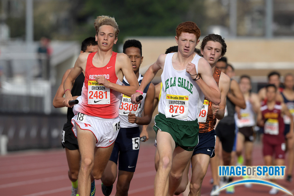 Cade Erickson (2481) of Redondo and Connor Livingston (879) of DeLaSalle lead the 4 x 800m relay during the 51st Arcadia Invitational in Arcadia, Calif., Friday, April 6, 2018.