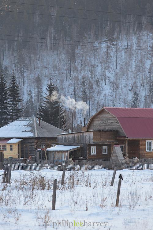 Farm houses on the road between Irkutsk and Port Baykal, Siberia, Russia