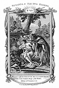 Susanna rejecting advances of the Elders. Accused by them of fornication and condemned to death. Saved by Daniel who proved their stories false. 'Bible' Susanna 5:22. Copperplate engraving c1804