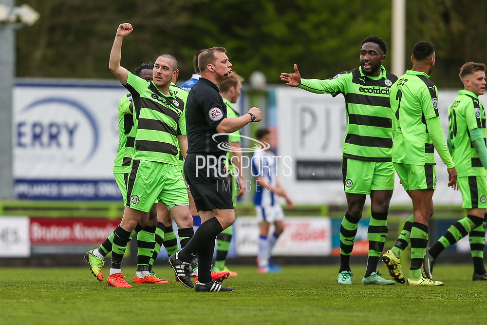 Forest Green Rovers Liam Noble(15) scores a goal 2-0 and celebrates during the Vanarama National League match between Forest Green Rovers and Chester FC at the New Lawn, Forest Green, United Kingdom on 14 April 2017. Photo by Shane Healey.