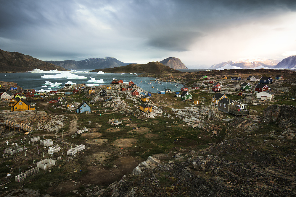 Ikerasak, like most of the other Inuit towns in Greenland, lives of fishing. There many sled dogs here, that are patiently waiting for the winter to do there job and little puppies ares running everywhere around.