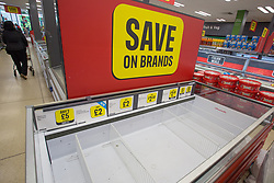 © Licensed to London News Pictures.  20/09/2021. London, UK. Empty shelves are seen in Ice Land, east London as CO2 shortage can hit food suppliers in the UK within days. Photo credit: Marcin Nowak/LNP