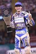 Leon Madsen celebrates winning the 2019 Adrian Flux British FIM Speedway Grand Prix at the Principality Stadium, Cardiff, Wales on 21 September 2019.