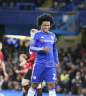 Chelsea attacker Willian missing a good chance during the Barclays Premier League match between Chelsea and West Bromwich Albion at Stamford Bridge, London, England on 13 January 2016. Photo by Matthew Redman.