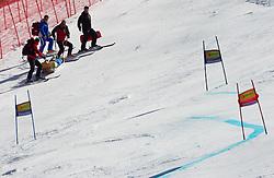 Injured EISATH Florianof Italy rescued during 2nd Run of 8th Men's Giant Slalom - Pokal Vitranc 2012 of FIS Alpine Ski World Cup 2011/2012, on March 10, 2012 in Vitranc, Kranjska Gora, Slovenia.  (Photo By Vid Ponikvar / Sportida.com)