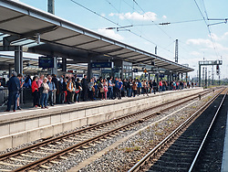 May 2, 2019 - Munich, Bavaria, Germany - Large numbers of commuters left waiting for trains on the Munich Stammstrecke as signaling issues were cited for service disruptions. (Credit Image: © Sachelle Babbar/ZUMA Wire)