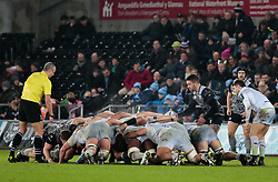 Ospreys' Rhys Webb puts in at the scrum <br /> <br /> Photographer Simon King/Replay Images<br /> <br /> European Rugby Champions Cup Round 5 - Ospreys v Saracens - Saturday 13th January 2018 - Liberty Stadium - Swansea<br /> <br /> World Copyright © Replay Images . All rights reserved. info@replayimages.co.uk - http://replayimages.co.uk