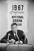Y-670823-21. National Urban League convention. Press conference of negro senator Edward W. Brooke. Photo shot for Time Magazine. August 23, 1967