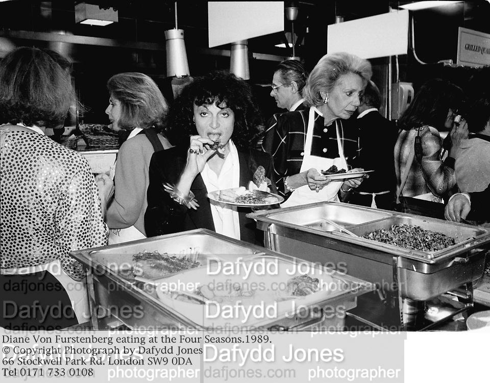 Diane Von Furstenberg eating at the Four Seasons.1989.<br />© Copyright Photograph by Dafydd Jones<br />66 Stockwell Park Rd. London SW9 0DA<br />Tel 0171 733 0108