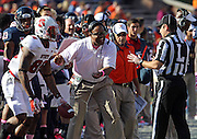 Oct. 22, 2011 - Charlottesville, Virginia - USA; Virginia Cavaliers head coach Mike London reacts during an NCAA football game against the North Carolina State Wolfpack at the Scott Stadium. NC State defeated Virginia 28-14. (Credit Image: © Andrew Shurtleff/