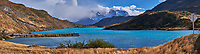 Lake, Mountains, Sky and Clouds Panorama in Torres del Paine National Park. Composite of four images taken with a Fuji X-T1 camera and Zeiss 32 mm f/1.8 lens.