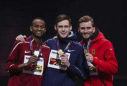 LONDON, March 2, 2018  Gold medalist Authorized Neutral Athlete Danil Lysenko (C) poses with silver medalist Mutaz Essa Barshim (L) of Qatar and bronze medalist Mateusz Przybylko of Germany on the podium during the awarding ceremony for the men's high jump final of the IAAF World Indoor Championships at Arena Birmingham in Birmingham, Britain on March 1, 2018.  wll) (Credit Image: © Han Yan/Xinhua via ZUMA Wire)