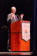 """Oct. 15, 2012 - Hempstead, New York, U.S. - Former White House Chief of Staff ERSKINE BOWLES (Democrat) speaks at Hofstra University about ?America's Debt and Deficit Crisis: Issues and Solutions.?  Also speaking was Simpson (not shown), his co-chairman of the National Commission on Fiscal Responsibility and Reform and co-leader of the Simpson-Bowles non-partisan U.S. fiscal debt reduction plan. This event was part of """"Debate 2012 Pride Politics and Policy"""" a series of events leading up to when Hofstra hosts the 2nd Presidential Debate between Obama and M. Romney, the next night, October 16, 2012, in a Town Meeting format."""