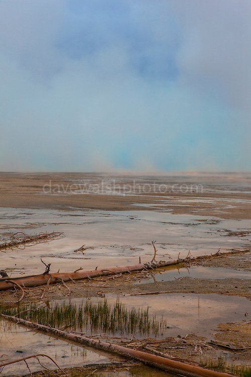 """Steam erupts from Grand Prismatic Spring, Yellowstone National Park, Wyoming. The largest hot spring in the United States, it's also the world's third largest, with a diameter of 90m, and a depth of some 50m. The colours are thanks to pigmented bacteria growing in the microbial mats that surround the spring water, which is full of minerals. This mage can be licensed via Millennium Images. Contact me for more details, or email mail@milim.com For prints, contact me, or click """"add to cart"""" to some standard print options."""