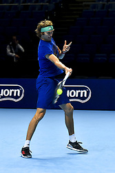 November 16, 2018 - London, United Kingdom - Alexander Zverev is seen in action in his training session during Day Six of the Nitto ATP Finals at The O2 Arena on November 16, 2018 in London, England. (Credit Image: © Alberto Pezzali/NurPhoto via ZUMA Press)
