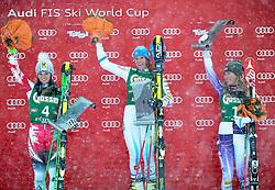 28.12.2014, Hohe Mut, Kühtai, AUT, FIS Ski Weltcup, Kühtai, Riesenslalom, Damen, Siegerehrung, im Bild v.l.: zweite Anna Fenninger (AUT), Siegerin Sara Hector (SWE) und dritte Mikaela Shiffrin (USA) // f.l.: second placed Anna Fenninger of Austria, Winner Sara Hector of Sweden and third placed Mikaela Shiffrin of the USA celebrates on Podium during the award ceremony afterLadies Giant Slalom of the Kuehtai FIS Ski Alpine World Cup at the Hohe Mut Course in Kuehtai, Austria on 2014/12/28. EXPA Pictures © 2014, PhotoCredit: EXPA/ Erich Spiess