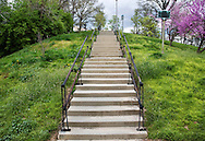 A Concrete Stairway Up A Hill In Eden Park During Springtime, Cincinnati, Ohio, USA