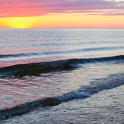 Sunset over Cape Cod Bay at Duck Harbor Beach, Wellfleet, Massachusetts. Cape Cod.