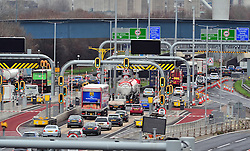 © Licensed to London News Pictures. 23/12/2016<br /> Heavy anti clock-wise traffic at the Dartford crossing into the tunnels.<br /> Christmas Getaway traffic on the M25 in Dartford at and near the Dartford Crossing and QEII bridge in Kent.<br /> Photo credit :Grant Falvey/LNP