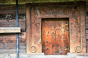 Carved wooden door Maramures County, Romania