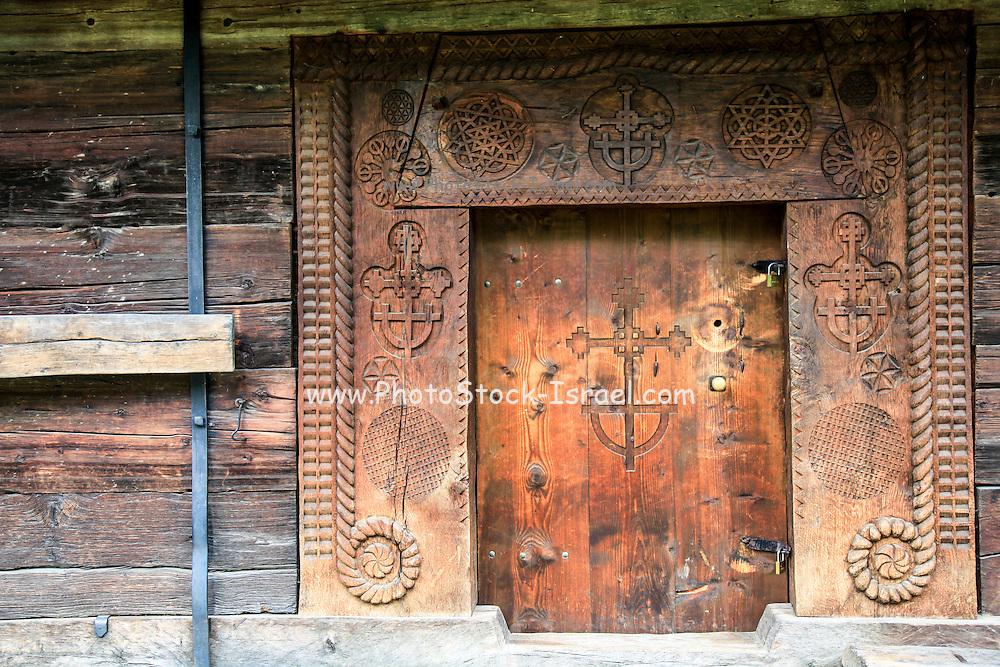 Carved wooden door Maramures County, Romania