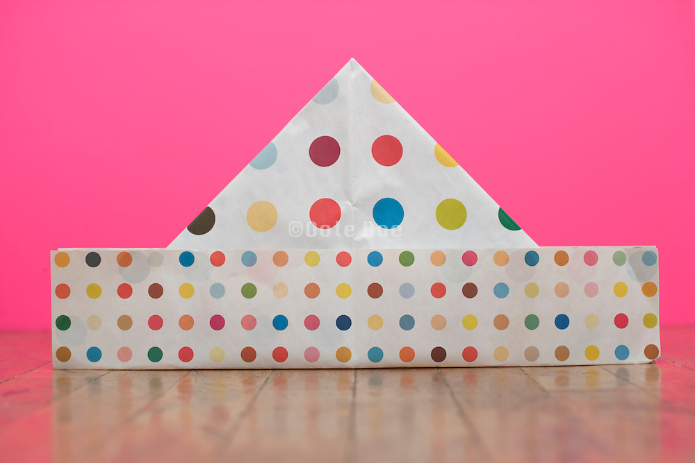 a homemade paper party hat made from Damien Hirst spot poster