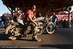 Custom bike builder and Old Iron - Young Blood exhibition participant Brad Gregory at the Iron Horse Saloon during the annual Sturgis Black Hills Motorcycle Rally.  SD, USA. Monday August 7, 2017. Photography ©2017 Michael Lichter.