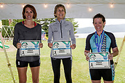 Overall female winners 1st  Beth Stalker, , 2nd, Jessica Nash and 3rd Michelle Gillian in the 2018 Hague Endurance Festival Olympic Triathlon