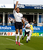 Photo: Daniel Hambury.<br />Luton Town v Crystal Palace. Coca Cola Championship. 09/09/2006.<br />Luton's Carlos Edwards celebrates his goal.1-0.