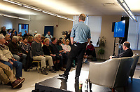 Tom Steyer takes a question from Jack Polidoro during the Presidential Candidate Forum at Lakes Region Community College Thursday afternoon.  (Karen Bobotas/for the Laconia Daily Sun)