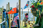 Fantastic Mr Fox by Stoneydown Park Primary School - The schools scarecrow area - Preparations for the Hampton Court Flower Show, organised by teh Royal Horticultural Society (RHS). In the grounds of the Hampton Court Palace, London.