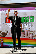 Ron Huldai, Mayor of Tel Aviv opens the annual gay parade in Tel Aviv. Friday, June 8, 2007. Thousands of members of the gay community and friends walked from  Rabin square to the beach party at Gordon Beach