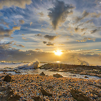 South Florida sunset landscape photography image from Ocean Reef Park in Riviera Beach, FL of Palm Beach County. This Florida shell covered beach photography image is available as museum quality photography prints, canvas prints, acrylic prints or metal prints. Fine art prints may be framed and matted to the individual liking and interior design wall art decoration needs:<br />