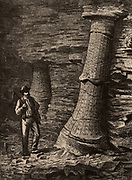 Fossilised tree trunks in Treuil coal mine, St Etienne, France.  From 'Underground Life; or, Mines and Miners' by Louis Simonin (London, 1869). Wood engraving.