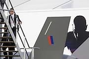 US aerospace manfacturer Lockheed-Martin and European consortium EADS chalets at the Farnborough Airshow.
