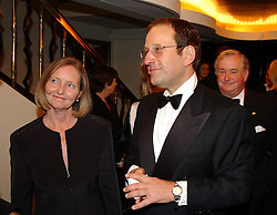 MR & MRS RICHARD DESMOND owner of The Express at The Caron Keating Foundation Dinner in honour of the late TV presenter who died in April 2004, held at The Savoy, London on 4th October 2004.<br /><br /><br /><br />NON EXCLUSIVE - WORLD RIGHTS