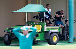 May 31, 2017 - Davie, Florida, U.S. - Miami Dolphins center Mike Pouncey (51) rides an exercise bike at Dolphins training facility in Davie, Florida on May 31, 2017. (Credit Image: © Allen Eyestone/The Palm Beach Post via ZUMA Wire)